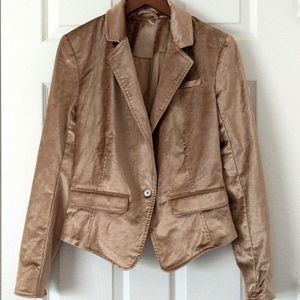 Free People Halo Velvet Boho Chic One Button Short Blazer Jacket Gold Tan XS